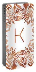 Letter K - Rose Gold Glitter Flowers Portable Battery Charger