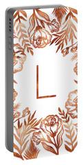 Letter L - Rose Gold Glitter Flowers Portable Battery Charger