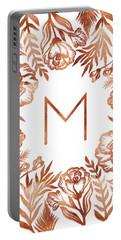 Letter M - Rose Gold Glitter Flowers Portable Battery Charger