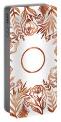 Letter O - Rose Gold Glitter Flowers Portable Battery Charger