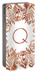 Letter Q - Rose Gold Glitter Flowers Portable Battery Charger