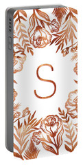 Letter S - Rose Gold Glitter Flowers Portable Battery Charger