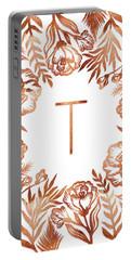 Letter T - Rose Gold Glitter Flowers Portable Battery Charger