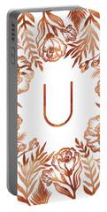 Letter U - Rose Gold Glitter Flowers Portable Battery Charger