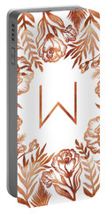 Letter W - Rose Gold Glitter Flowers Portable Battery Charger