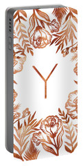 Letter Y - Rose Gold Glitter Flowers Portable Battery Charger