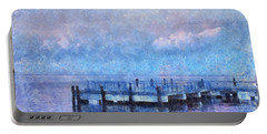 Portable Battery Charger featuring the mixed media Lewes Pier by Trish Tritz