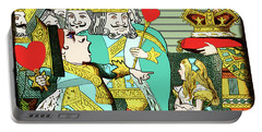 Lewis Carrolls Alice, Red Queen And Cards Portable Battery Charger by Marian Cates