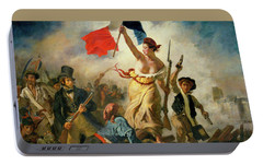 Portable Battery Charger featuring the painting Liberty Leading The People By Eugene Delacroix 1830 by Movie Poster Prints