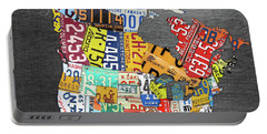 License Plate Map Of North America Canada And The United States On Gray Metal Portable Battery Charger