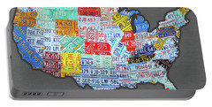 License Plate Map Of The United States Edition 2016 On Steel Background Portable Battery Charger