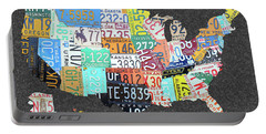 License Plate Map Of The United States On Gray Felt Large Format Sizing Portable Battery Charger