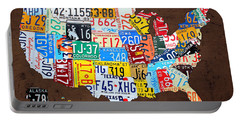License Plate Map Of The Usa On Brown Wood Portable Battery Charger