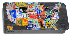 License Plate Map Of The Usa On Gray Distressed Wood Boards Portable Battery Charger