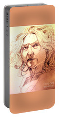 Life Drawing Sepia Portrait Sketch Medusa Portable Battery Charger