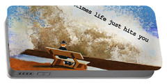 Life Hits You Greeting Card Portable Battery Charger by Thomas Blood