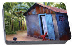 Portable Battery Charger featuring the painting Life In Haiti by Janet King