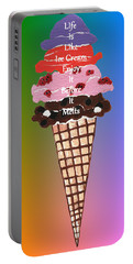 Portable Battery Charger featuring the painting Life Is Like Ice Cream by Kathleen Sartoris