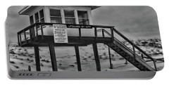 Portable Battery Charger featuring the photograph Lifeguard Station 1 In Black And White by Paul Ward
