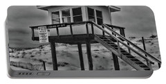 Portable Battery Charger featuring the photograph Lifeguard Station 2 In Black And White by Paul Ward
