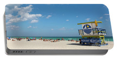Portable Battery Charger featuring the photograph Lifeguard Station Miami Beach Florida by Steven Frame