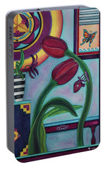 Portable Battery Charger featuring the painting Lifting And Loving Each Other by Lori Miller