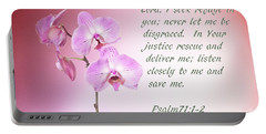 Portable Battery Charger featuring the photograph Light Pink Orchid Psalms 71 by Linda Phelps