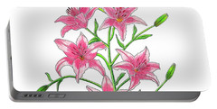 Light Pink Tiger Lily Portable Battery Charger