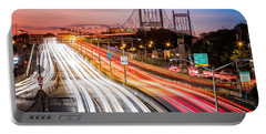 Light Trails On I-278 Near Triboro Bridge Portable Battery Charger