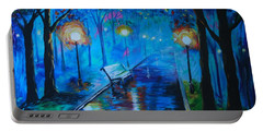 Portable Battery Charger featuring the painting Lighted Parkway by Leslie Allen