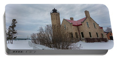 Lighthouse And Mackinac Bridge Winter Portable Battery Charger