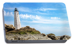 Portable Battery Charger featuring the photograph Lighthouse And Rocks by Dawn Romine