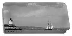 Portable Battery Charger featuring the photograph Lighthouse And Schooner, Portland, Maine #30096-bw by John Bald