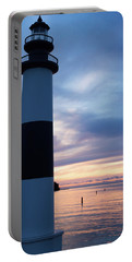 Lighthouse At Sister Bay Marina At Sunset Portable Battery Charger