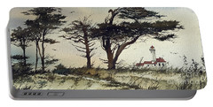 Portable Battery Charger featuring the painting Lighthouse Coast by James Williamson