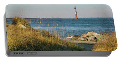 Lighthouse From Beach At Dusk Portable Battery Charger
