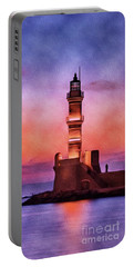 Lighthouse, Greece, Sunset Portable Battery Charger
