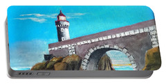 Portable Battery Charger featuring the painting Lighthouse In Brest, France by Jim Phillips