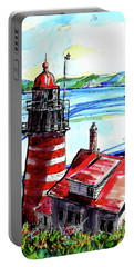 Portable Battery Charger featuring the painting Lighthouse In Maine by Terry Banderas