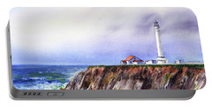 Lighthouse On The Cliff Watercolor Portable Battery Charger