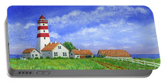 Lighthouse Pasture Portable Battery Charger by Val Miller