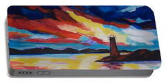 Portable Battery Charger featuring the painting Lighthouse Storm by Leslie Allen