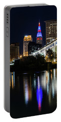 Portable Battery Charger featuring the photograph Lighting Up Cleveland by Dale Kincaid