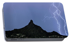 Portable Battery Charger featuring the photograph Lightning Bolts And Pinnacle Peak North Scottsdale Arizona by James BO Insogna