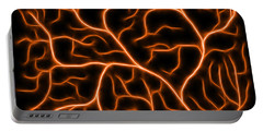 Portable Battery Charger featuring the digital art Lightning - Orange by Shane Bechler