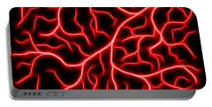 Portable Battery Charger featuring the digital art Lightning - Red by Shane Bechler