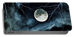 Lightning Sky At Full Moon Portable Battery Charger
