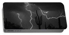 Lightning Storm Saguaro Fine Art Bw Photography Portable Battery Charger