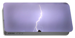Lightning Striking Pinnacle Peak Scottsdale Az Portable Battery Charger