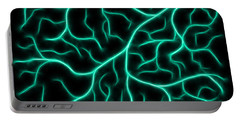 Portable Battery Charger featuring the digital art Lightning - Teal by Shane Bechler